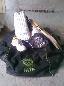 The sports items distributed to players of North Waziristan currently staying in Bannu. - Photo by Gohar Wazir