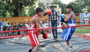 Boxers facing each other at the Forest Institute. - Photo by Ayaz Raza
