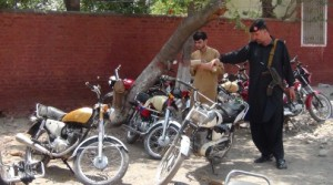A view of the confiscated motorcycles in Khyber Agency. - Sajid Ali Kokikhel