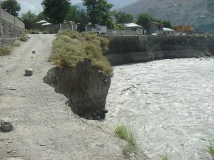 CHITRAL: A view of the Mastuj Road washed away by floods. - TNN