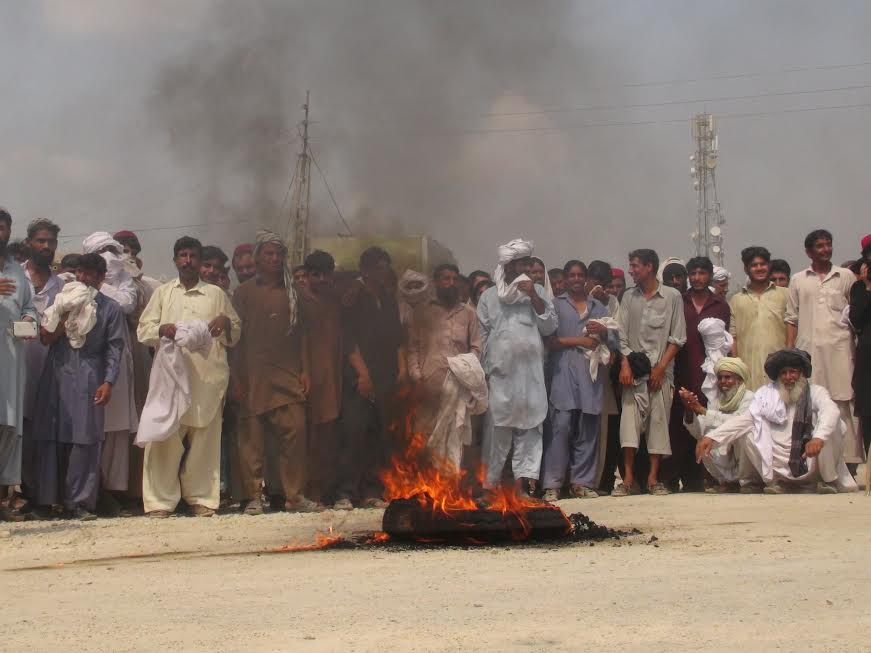 Local residents at their demonstration, demanding water from local dam for irrigation. - Photo by Farooq Khan Mehsud