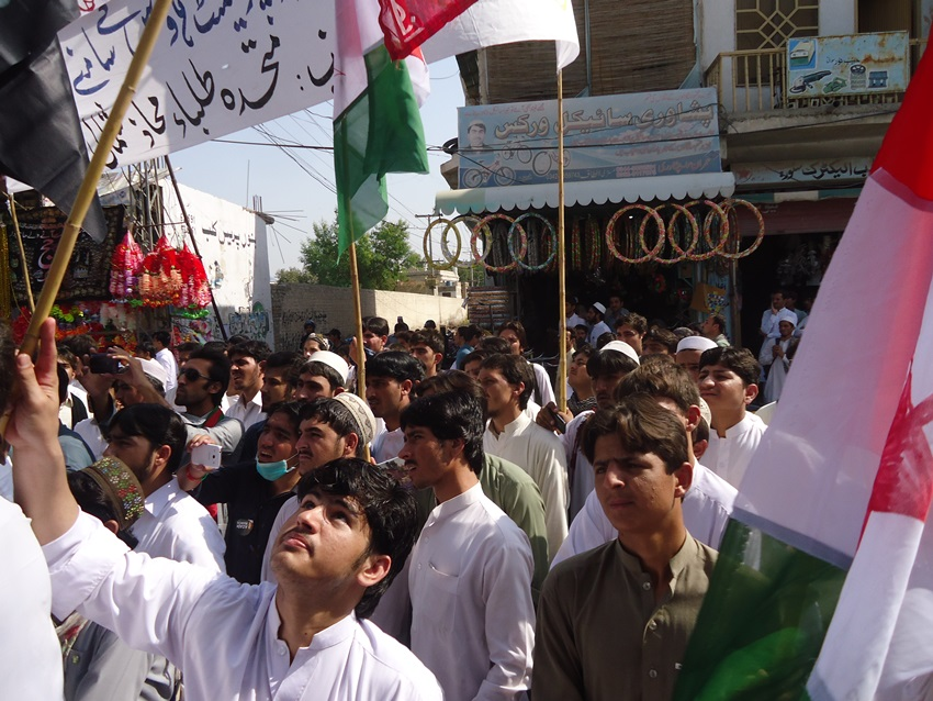 Bannu students protest pic by Gohar wazir (2)