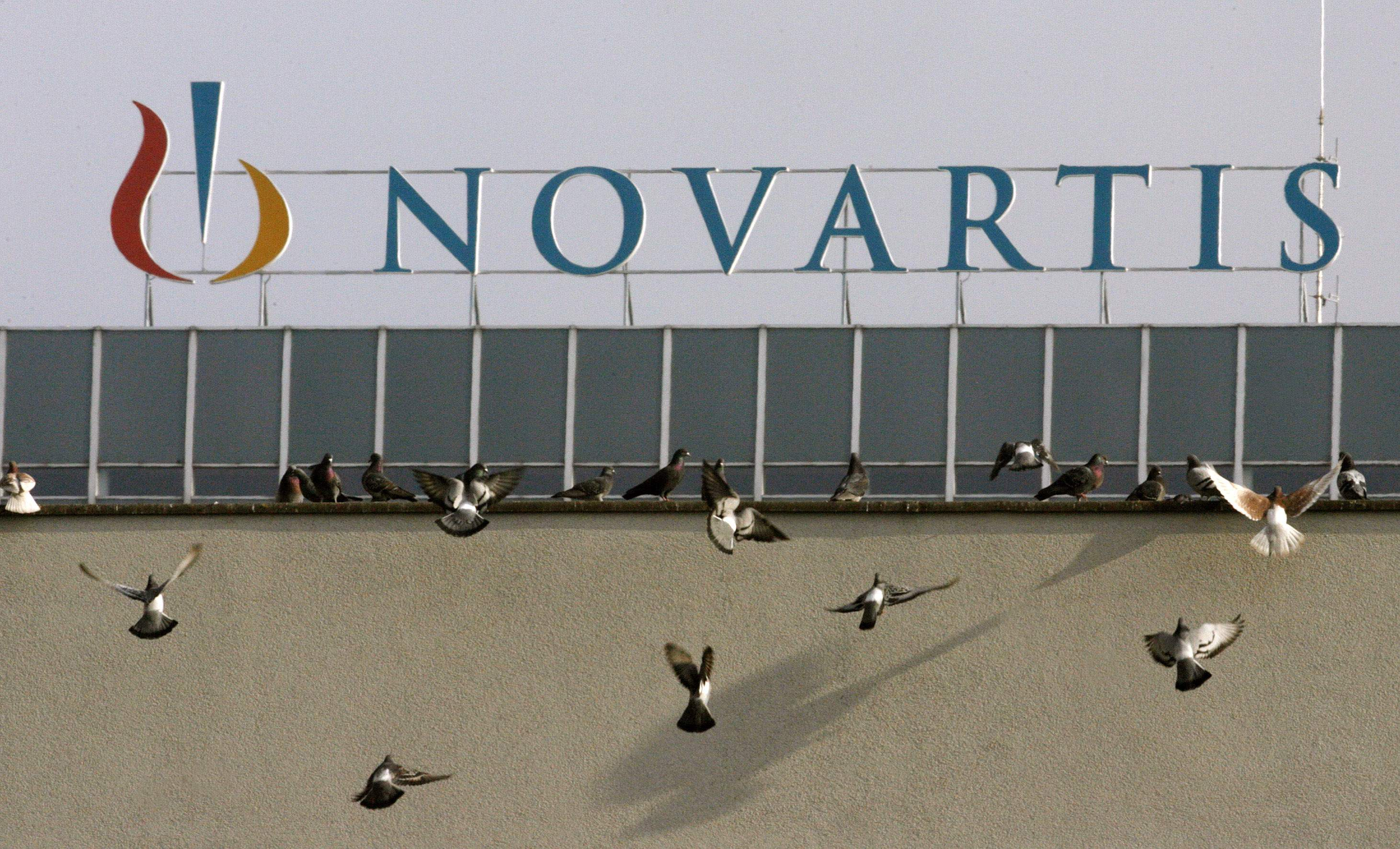 File photo of pigeons sitting on a roof in front of the logo of Swiss drugmaker Novartis at the company's plant in Basel